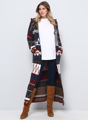 Navy Blue - Multi -  - Plus Size Cardigan - Alia
