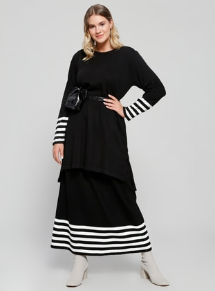 Black - Stripe - Crew neck - Unlined - Plus Size Suit - Alia