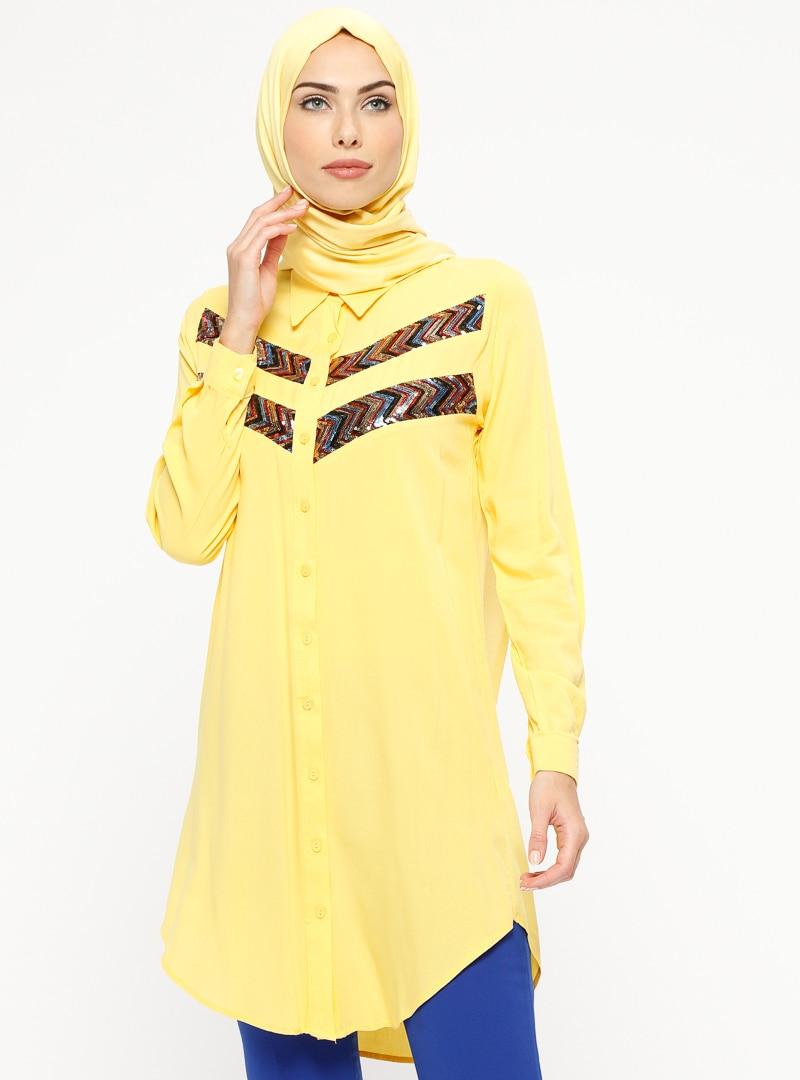 Tesettür Tunik Mileny Sarı Kadın 38