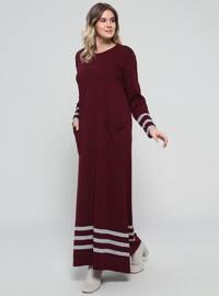 Plum - Stripe - Unlined - Crew neck - Acrylic -  - Plus Size Dress