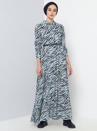 Blue - Navy Blue - Multi - Point Collar - Unlined - Dresses