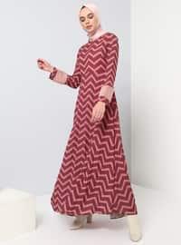 Old Rose - Çizgili - Çok renkli - Yuvarlak yakalı - Kısmen astarlı kumaş - Elbise