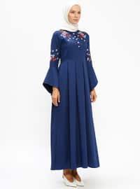 Blue - Navy Blue - Indigo - Crew neck - Unlined - Dresses