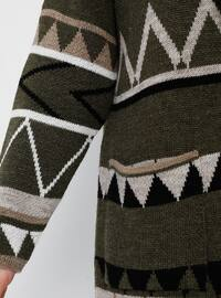 Khaki - Multi -  - Plus Size Cardigan