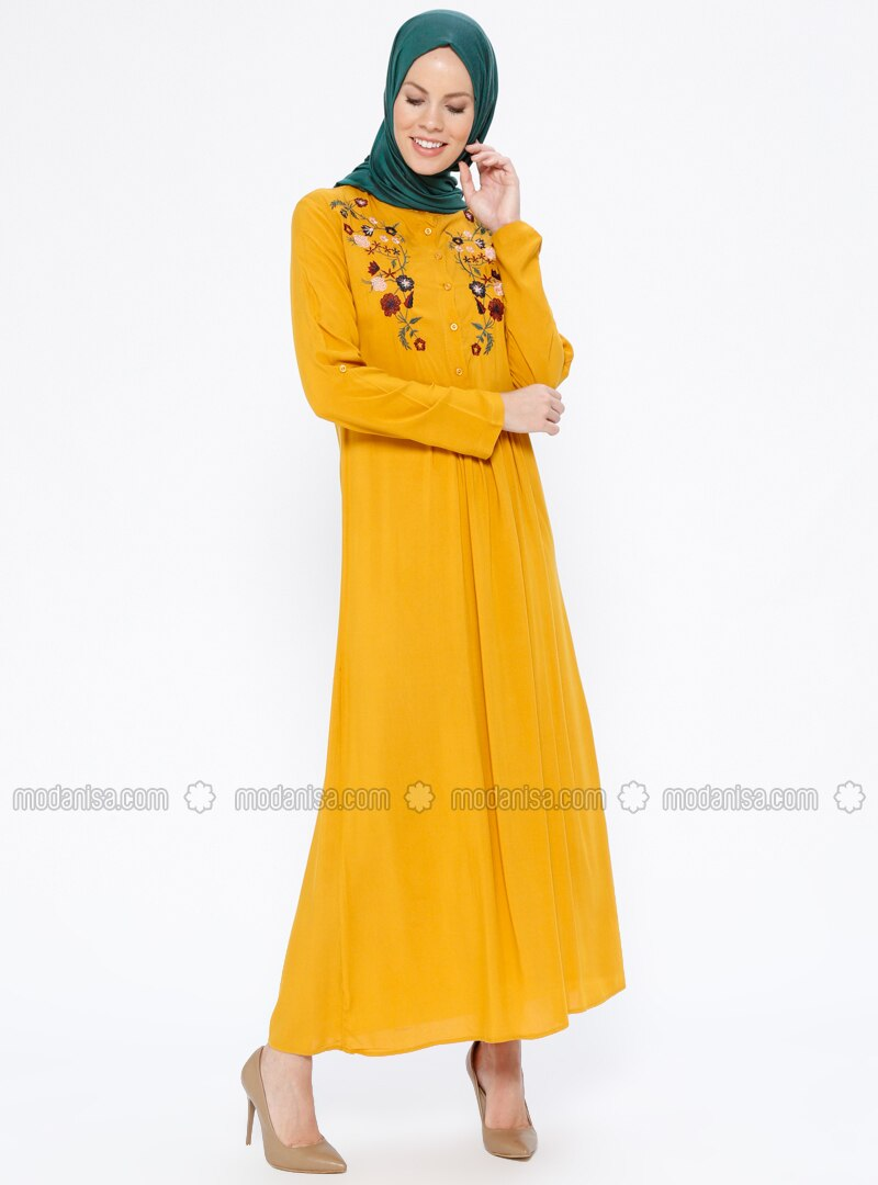 Mustard - Button Collar - Unlined - Dresses