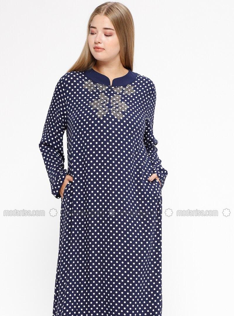 Navy Blue - Polka Dot - Unlined - Crew neck - Plus Size Dress