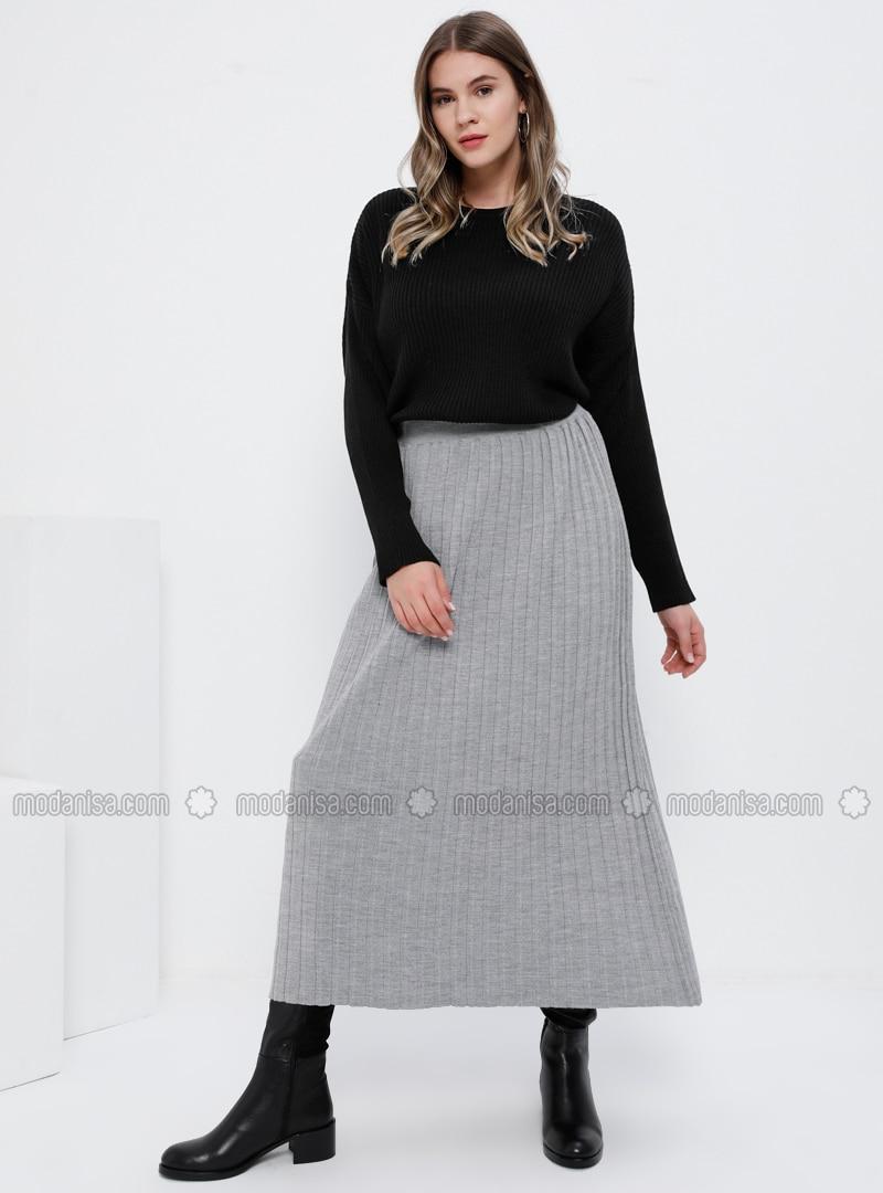 Gray - Unlined - Acrylic - Plus Size Skirt