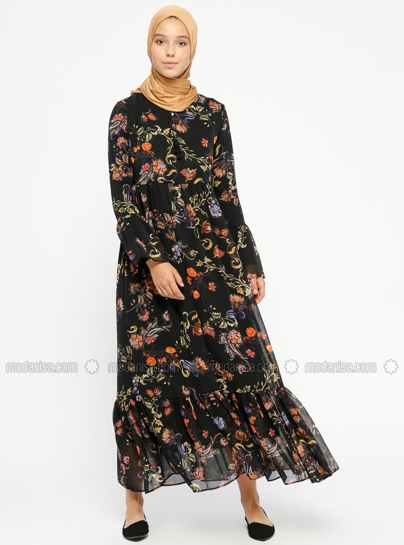 Kleid mit blumenmuster schwarz
