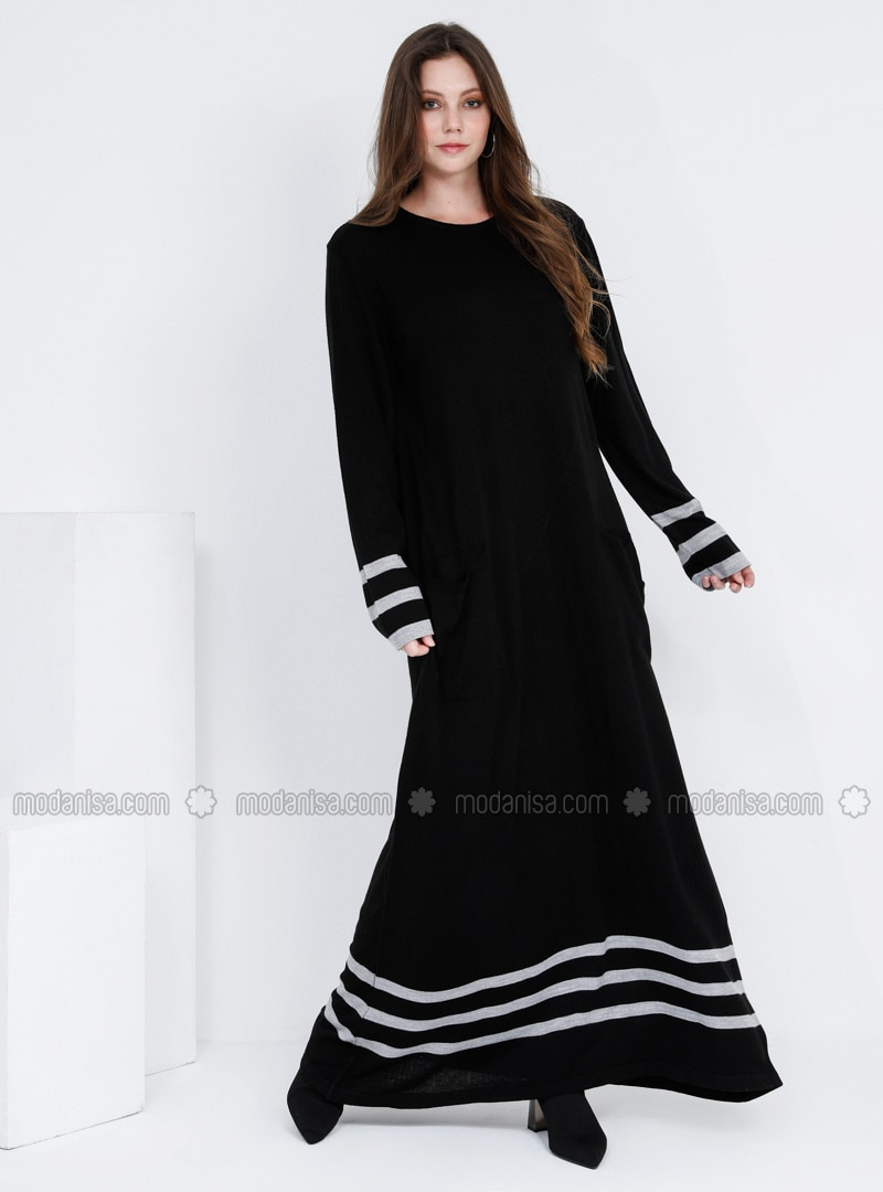 Black - Stripe - Unlined - Crew neck - Acrylic - - Plus Size Dress
