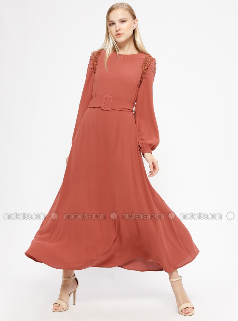 Dusty Rose   Crew Neck   Fully Lined   Dresses   İkoll by Modanisa