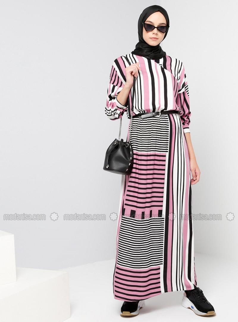 Green - White - Stripe - V neck Collar - Unlined - Dresses