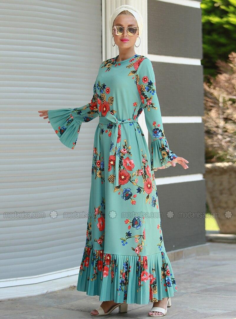 f32f31b38fa Mint - Coral - Floral - Crew neck - Unlined - Dresses
