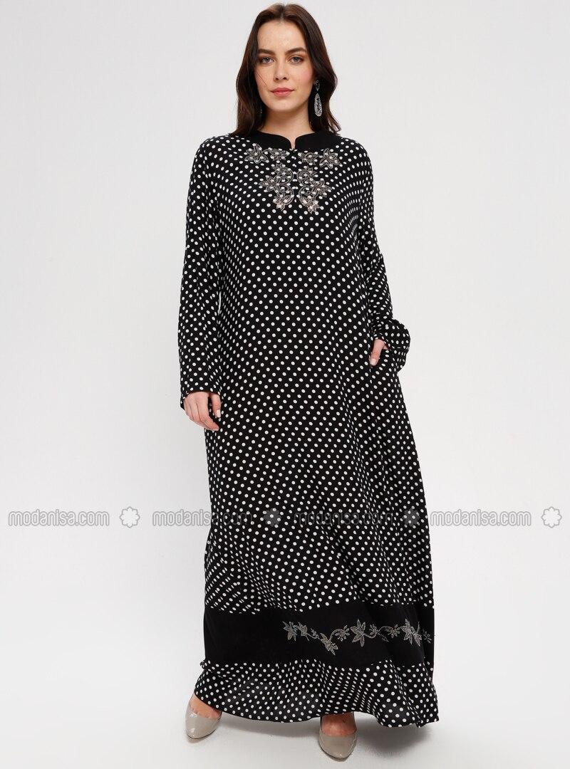 Black - Polka Dot - Unlined - Crew neck - Plus Size Dress - BAGİZA