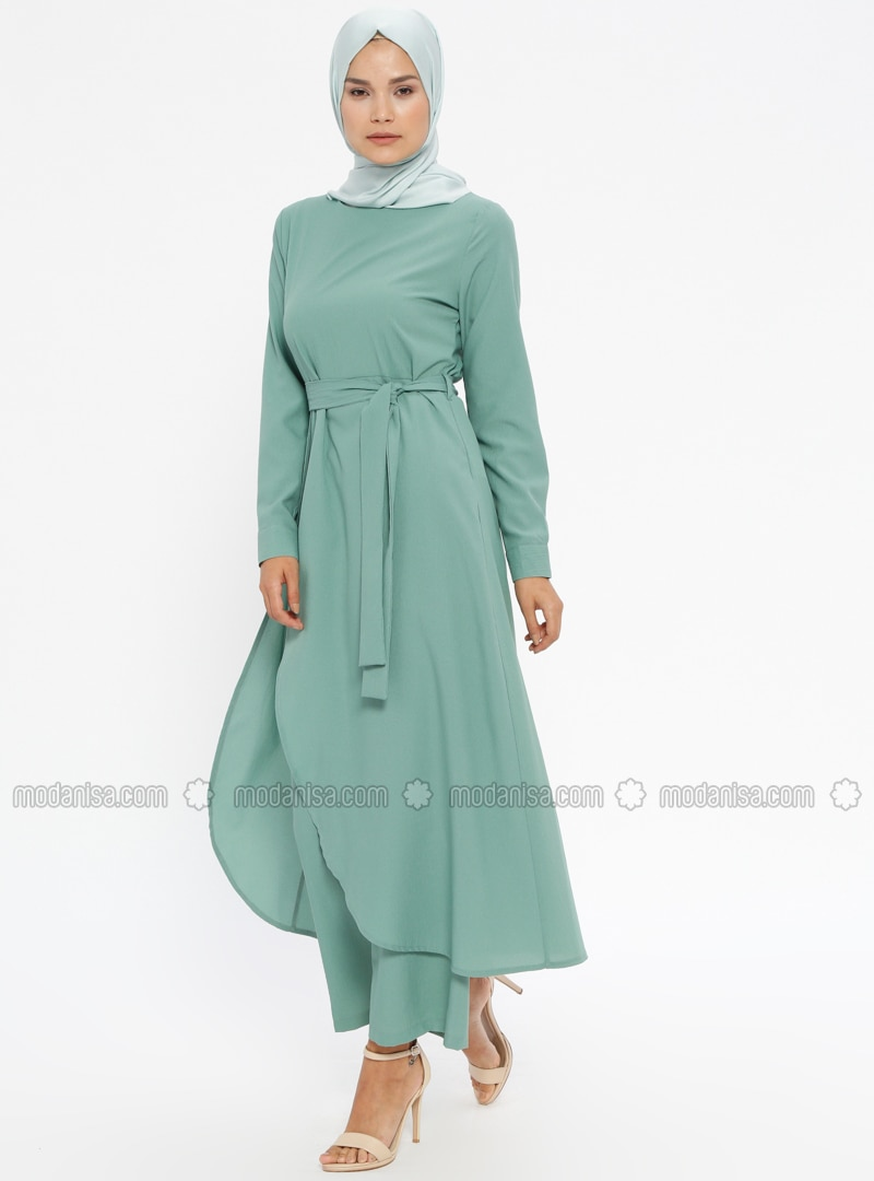 Green Almond   Unlined   Suit   Akabe Moda by Modanisa