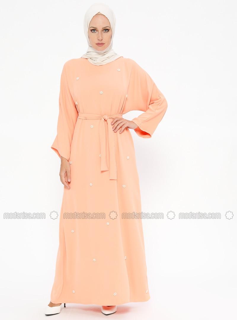 Salmon - Crew neck - Unlined - Dresses