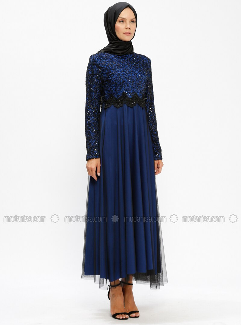 Robe soiree noir et bleu