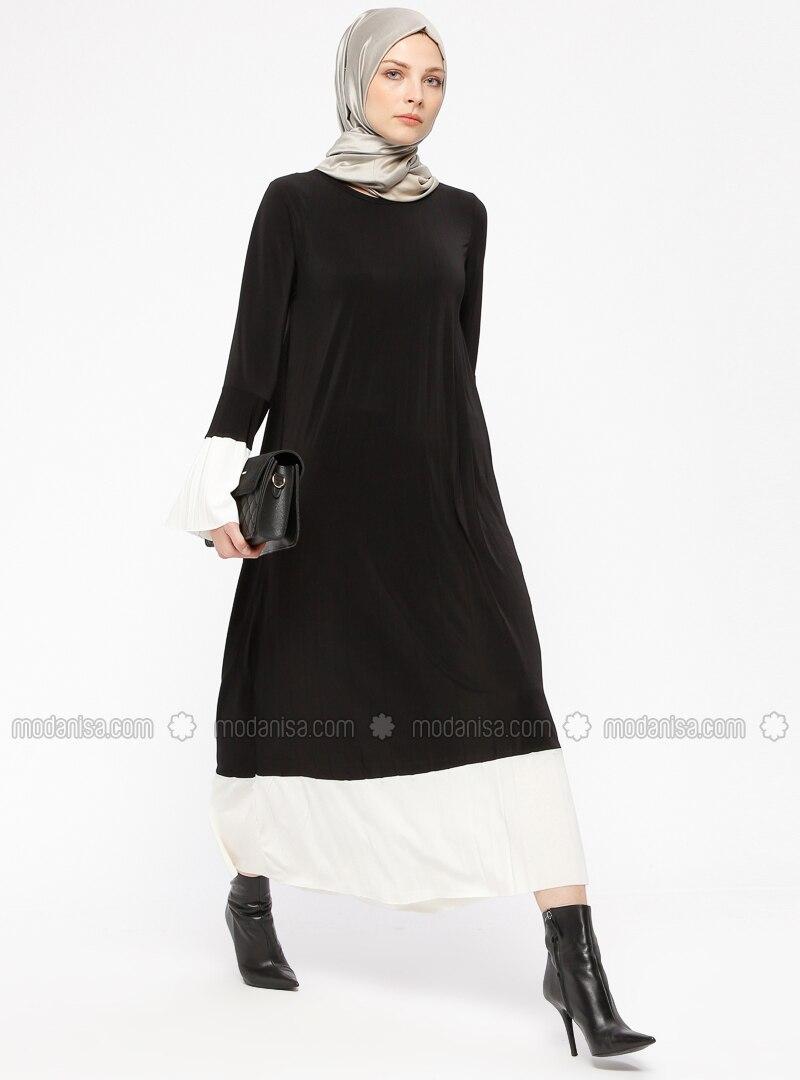 e4dc1402307d3 Black - White - Crew neck - Unlined - Dresses