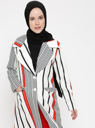 Red - Black - Stripe - Unlined - Shawl Collar - Jacket
