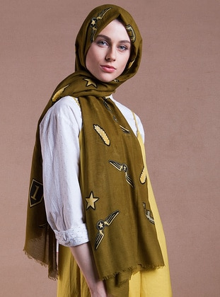 Olive Green - Printed - Cotton - Shawl