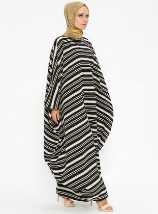Black - Mustard - Stripe - Unlined - Crew neck - Abaya