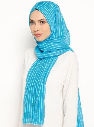 Ecru - Turquoise - Striped - Cotton - Shawl - U.S. Polo Assn.