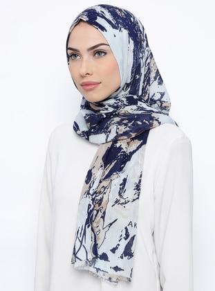 Navy Blue - Ecru - Printed - Cotton - Shawl