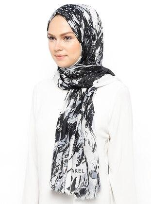 Black - Ecru - Printed - Cotton - Shawl