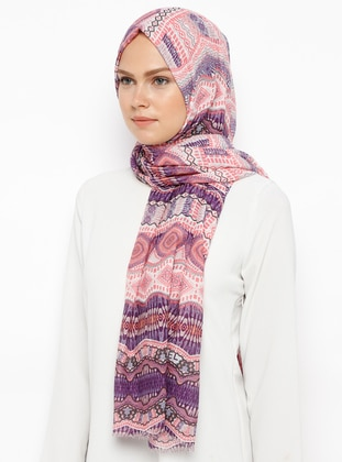 Salmon - Indigo - Printed - Cotton - Shawl