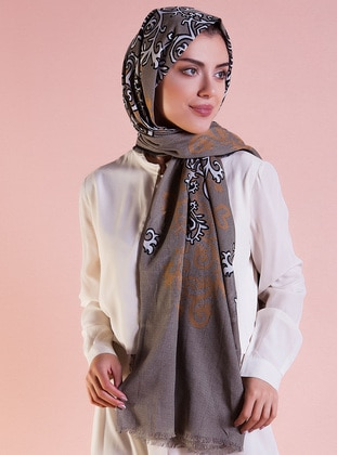 Black - Gold - Printed - Ethnic - Cotton - Shawl