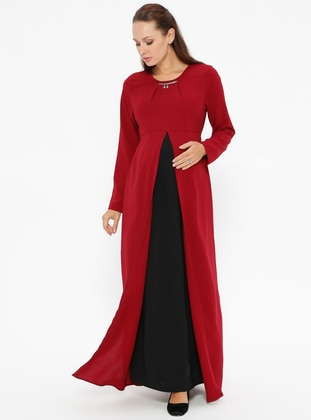 Black – Maroon – Crew Neck – Unlined – Maternity Dress – Havva Ana