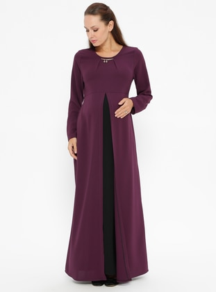 Black – Plum – Crew Neck – Unlined – Maternity Dress – Havva Ana