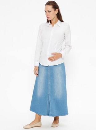 Blue - Unlined - Denim - Maternity Skirt