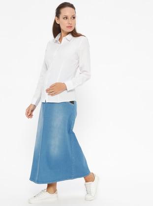 Blue - Unlined - Denim - Maternity Skirt