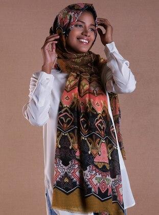 Coral - Khaki - Printed - Shawl