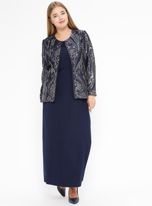 Navy Blue - Crew neck - Fully Lined - Plus Size Evening Suit - Arıkan
