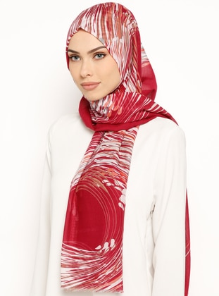 Red - Maroon - Printed - Cotton - Shawl
