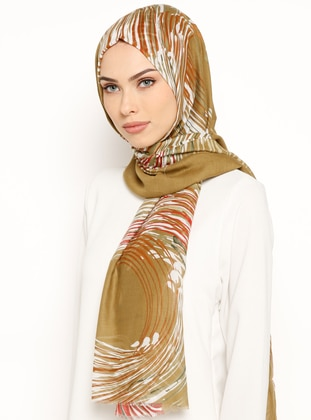 Red - Khaki - Printed - Cotton - Shawl
