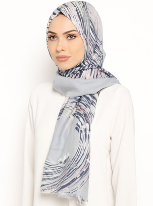 Navy Blue - Indigo - Printed - Cotton - Shawl
