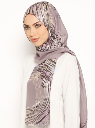 Brown - Purple - Printed - Cotton - Shawl