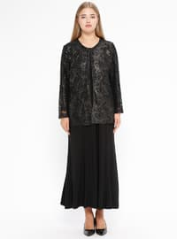Black - Multi - Crew neck - Fully Lined - Plus Size Evening Suit