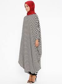 Black - Ecru - Stripe - Unlined - Crew neck - Abaya