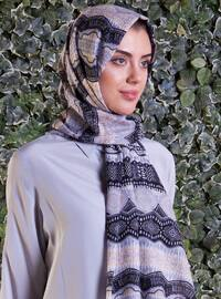 Beige - Smoke-coloured - Printed - Cotton - Shawl