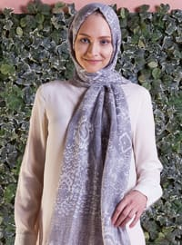 Gray - Ecru - Printed - Shawl