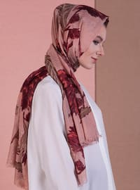 Salmon - Tan - Printed - Shawl