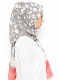 Pink - Gray - Printed - Cotton - Shawl