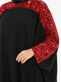 Red - Black - Unlined - Crew neck - Abaya