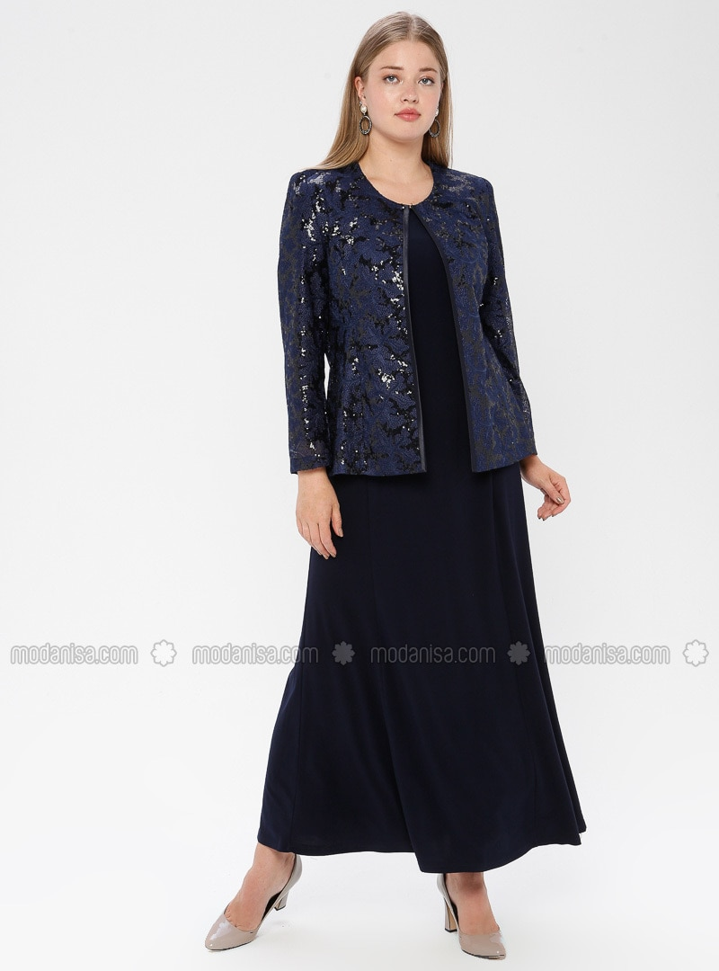 Navy Blue - Crew neck - Fully Lined - Plus Size Evening Suit