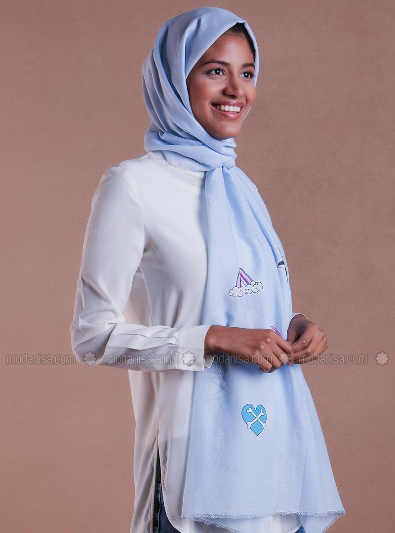 Baby Blue - Printed - Cotton - Shawl