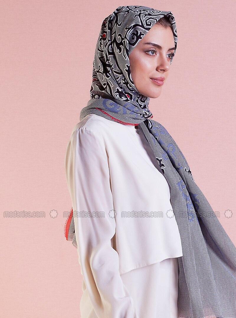 Red - Gray - Printed - Ethnic - Cotton - Shawl