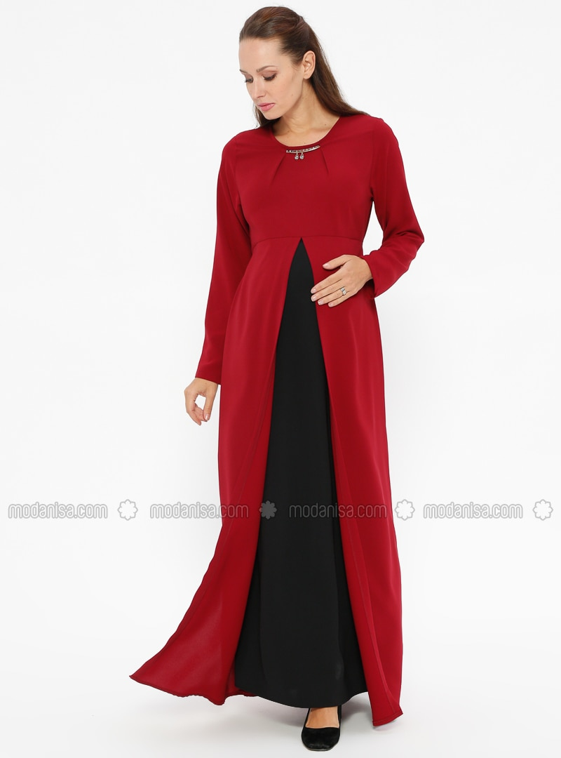 Black - Maroon - Crew neck - Unlined - Maternity Dress